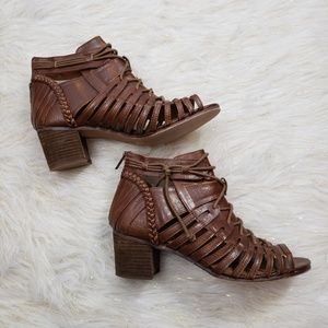 Not Rated Sz 10 Woven Ankle Peep Toe Boots